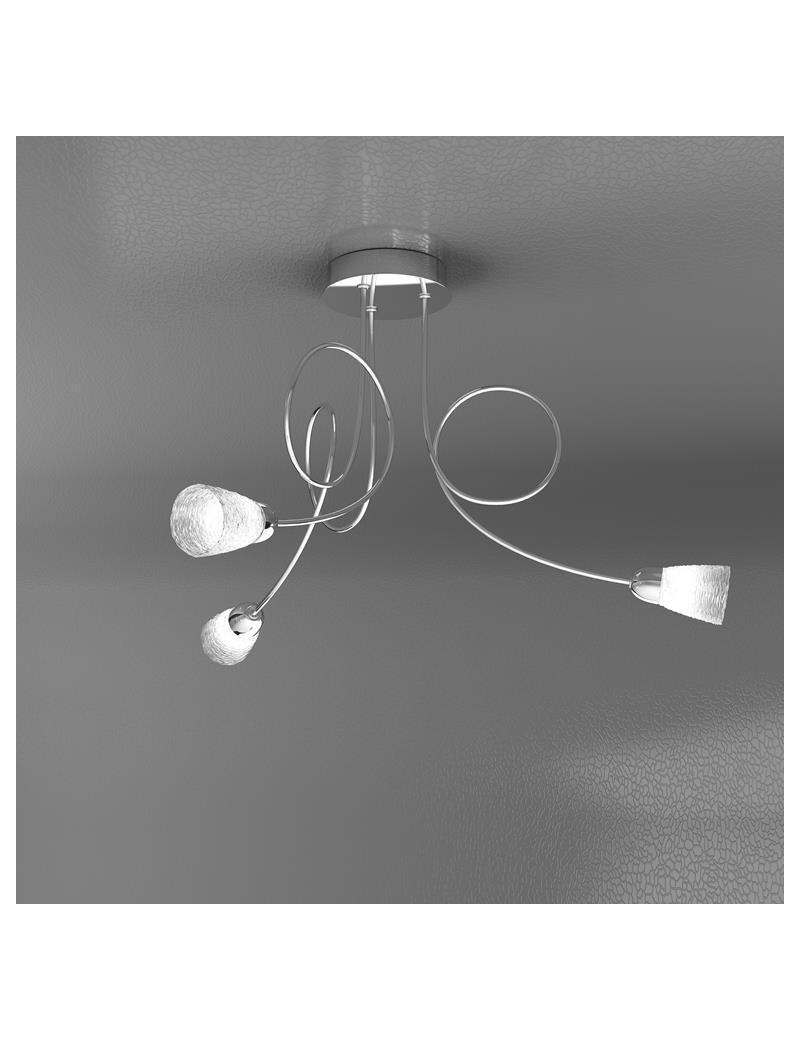 TOP LIGHT: Feeling plafoniera lampada cromo 3 luci vetro trasparente in offerta