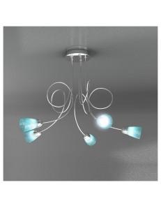 FEELING PLAFONIERA LAMPADA CROMO 5 LUCI VETRO AZZURRO TOP LIGHT