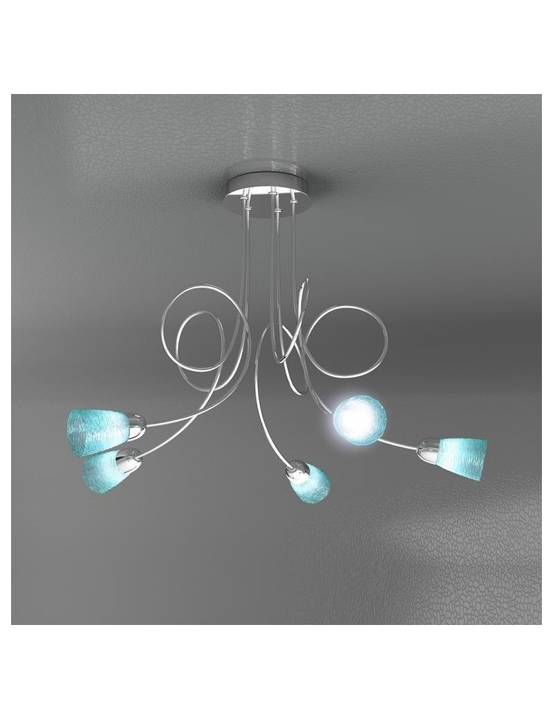 TOP LIGHT: Feeling plafoniera lampada cromo 5 luci vetro azzurro in offerta