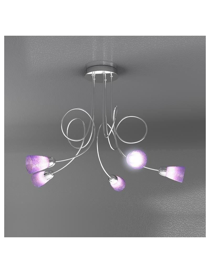 TOP LIGHT: Feeling plafoniera lampada cromo 5 luci vetro colorato lilla in offerta
