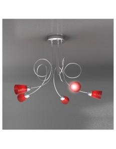 FEELING PLAFONIERA LAMPADA CROMO 5 LUCI VETRO ROSSO TOP LIGHT