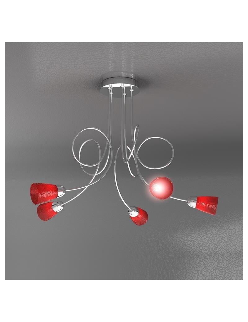 TOP LIGHT: Feeling plafoniera lampada cromo 5 luci vetro rosso in offerta