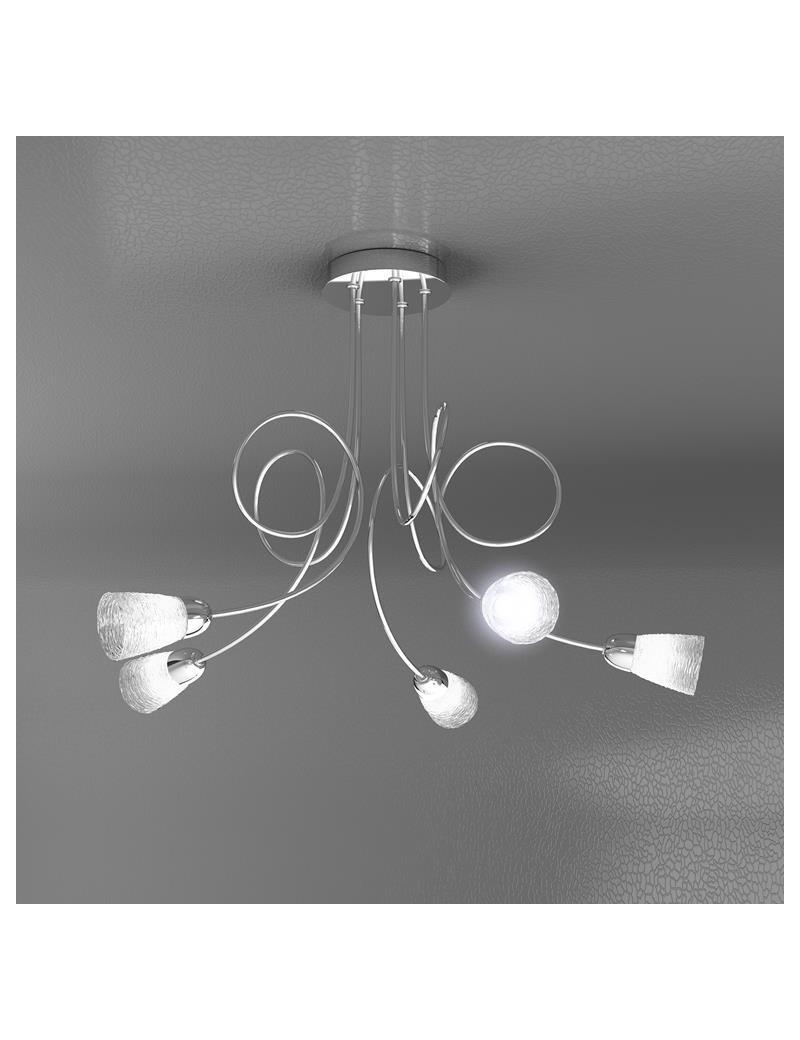 TOP LIGHT: Feeling plafoniera lampada cromo 5 luci vetro trasparente in offerta