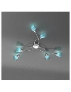 FEELING PLAFONIERA LAMPADA CROMO 6 LUCI VETRO AZZURRO TOP LIGHT