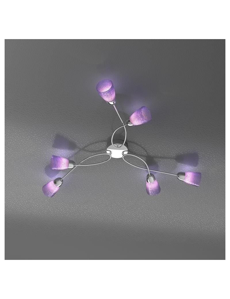 TOP LIGHT: Feeling plafoniera lampada cromo 6 luci vetro colorato lilla in offerta