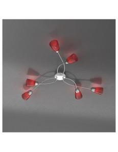 FEELING PLAFONIERA LAMPADA CROMO 6 LUCI VETRO ROSSO TOP LIGHT