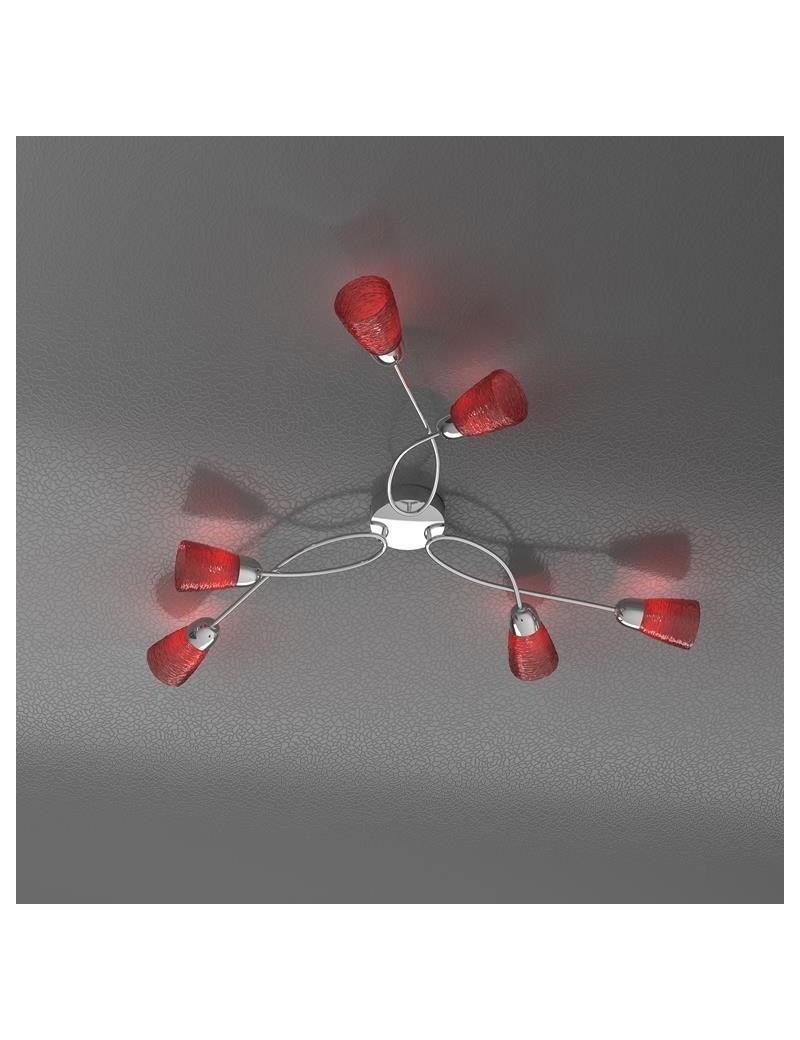 TOP LIGHT: Feeling plafoniera lampada cromo 6 luci vetro rosso in offerta