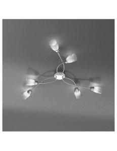 FEELING PLAFONIERA LAMPADA CROMO 6 LUCI VETRO TRASPARENTE TOP LIGHT