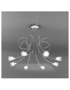 FEELING PLAFONIERA LAMPADA CROMO 8 LUCI VETRO TRASPARENTE TOP LIGHT