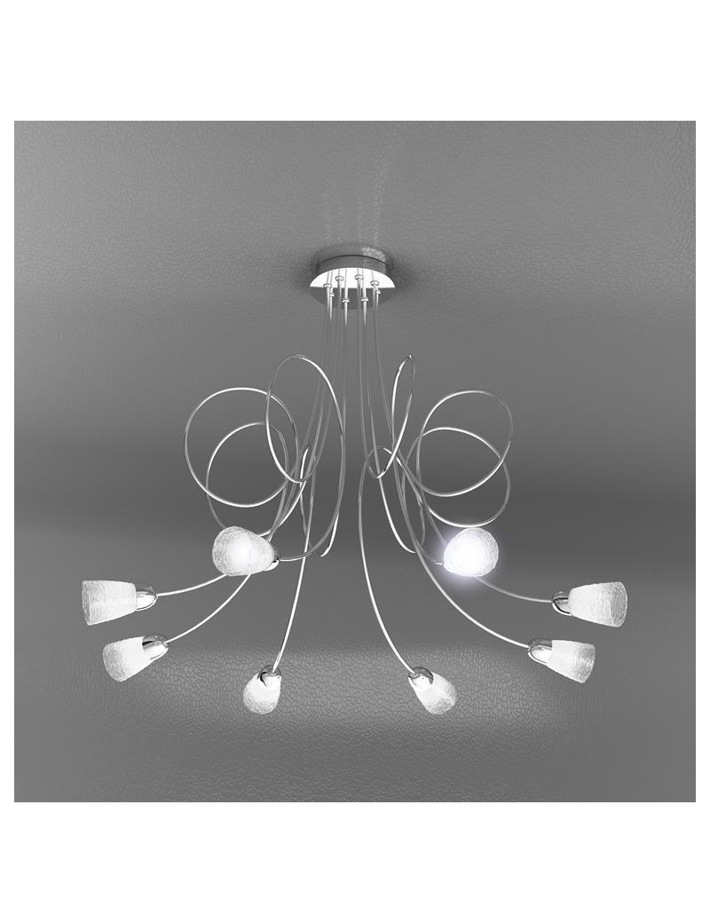 TOP LIGHT: Feeling plafoniera lampada cromo 8 luci vetro trasparente in offerta