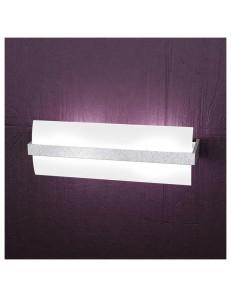 TOP LIGHT: Wood applique parete vetro curvo foglia argento 40cm in offerta