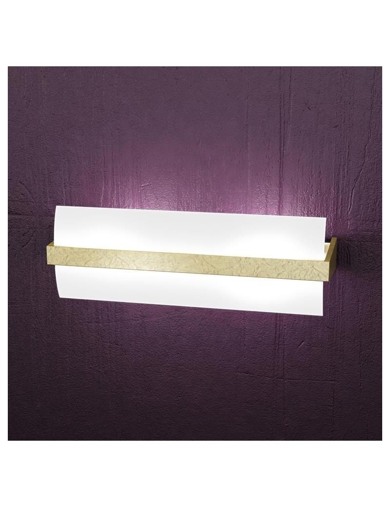 TOP LIGHT: Wood applique parete moderna vetro curvo foglia oro 40cm in offerta