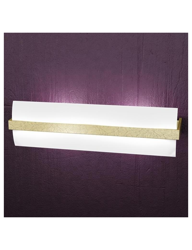 TOP LIGHT: Wood applique parete moderna vetro curvo satinato foglia oro 50cm in offerta