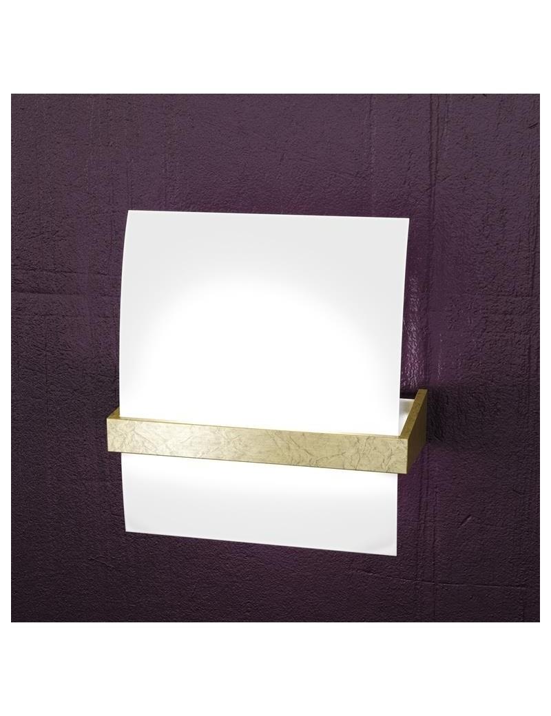 TOP LIGHT: Wood applique parete moderna vetro curvo foglia oro 25cm in offerta