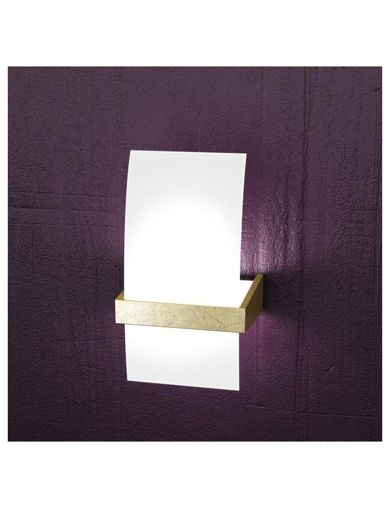 TOP LIGHT: Wood applique parete moderna legno vetro curvo foglia oro 15cm in offerta