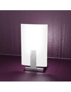 TOP LIGHT: Wood lumetto abat jour legno vetro satinato foglia argento in offerta