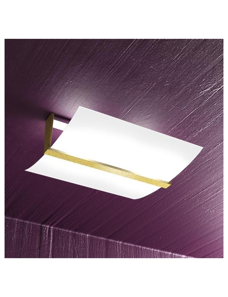 TOP LIGHT: Wood plafoniera lampada soffitto vetro curvo satinato foglia oro 40cm in offerta