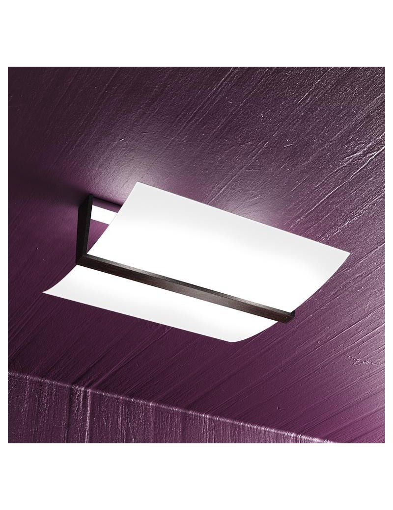 TOP LIGHT: Wood plafoniera lampada soffitto vetro curvo satinato finitura wenge 40cm in offerta