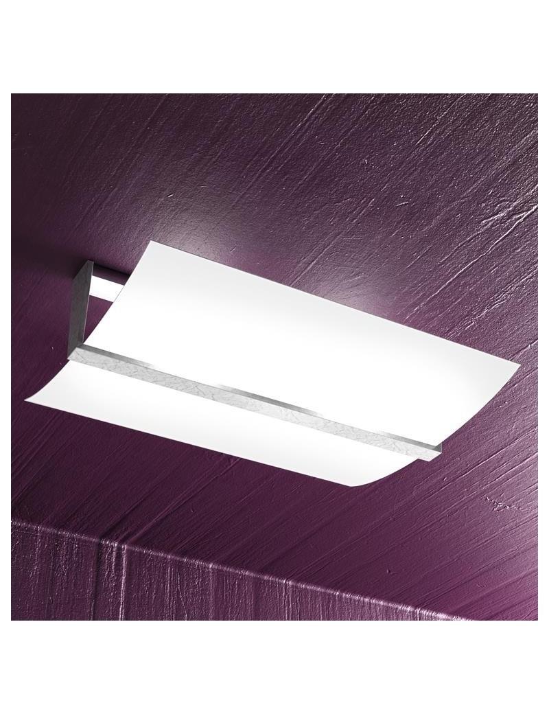 TOP LIGHT: Wood plafoniera lampada soffitto vetro curvo satinato foglia argento 50cm in offerta