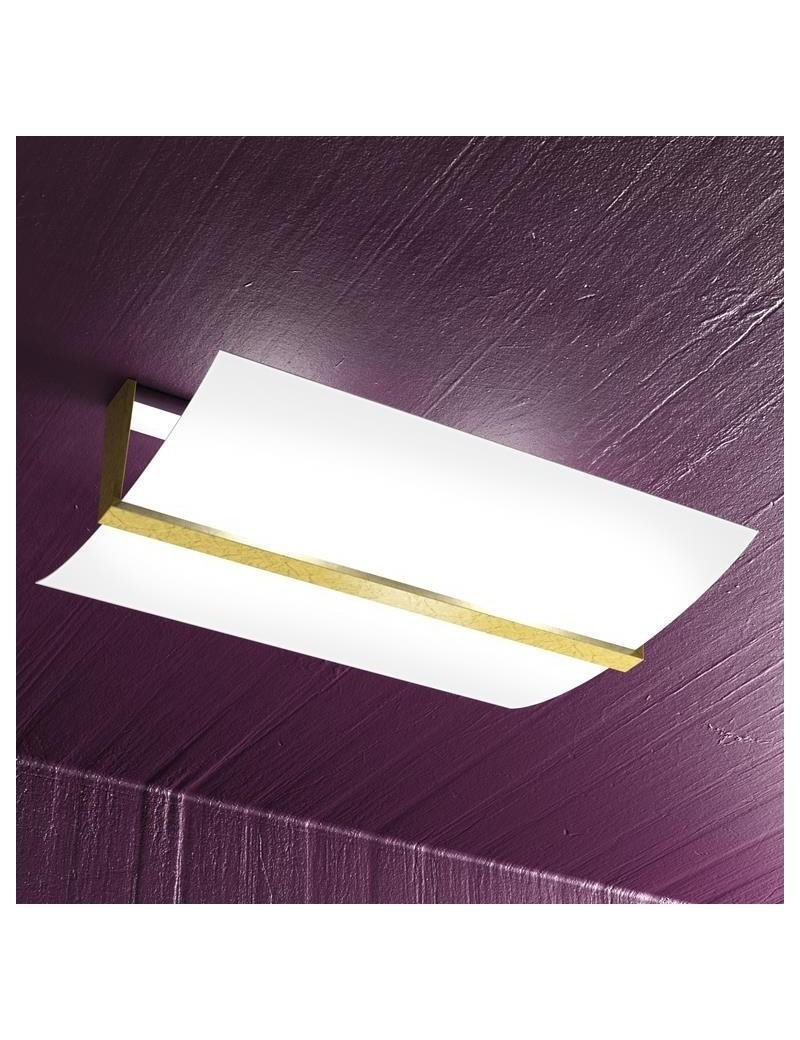 TOP LIGHT: Wood plafoniera lampada soffitto vetro curvo satinato foglia oro 50cm in offerta