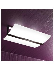 Wood plafoniera lampada soffitto vetro curvo satinato finitura wenge 50cm