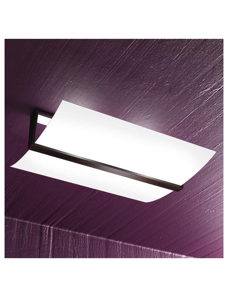 TOP LIGHT: Wood plafoniera lampada soffitto vetro curvo satinato finitura wenge 50cm in offerta