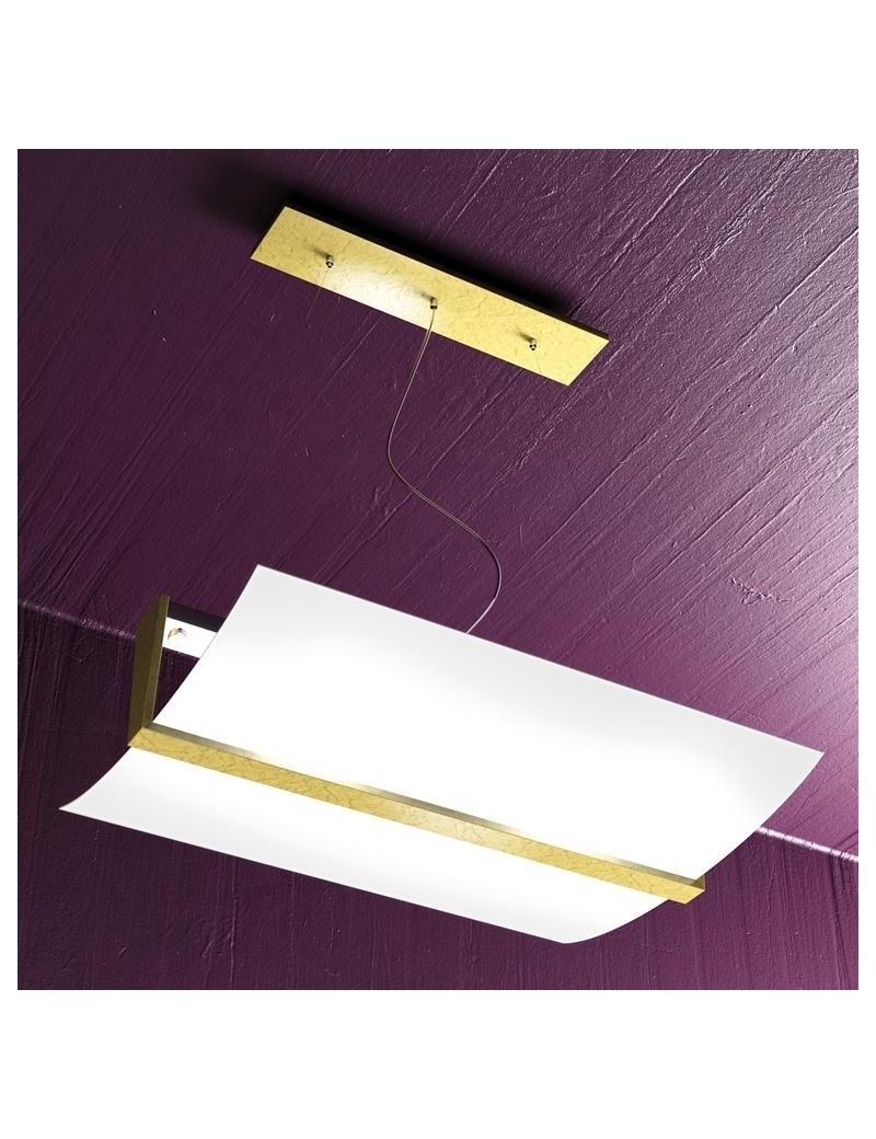 TOP LIGHT: Wood lampada sospensione regolabile vetro satinato foglia argento in offerta