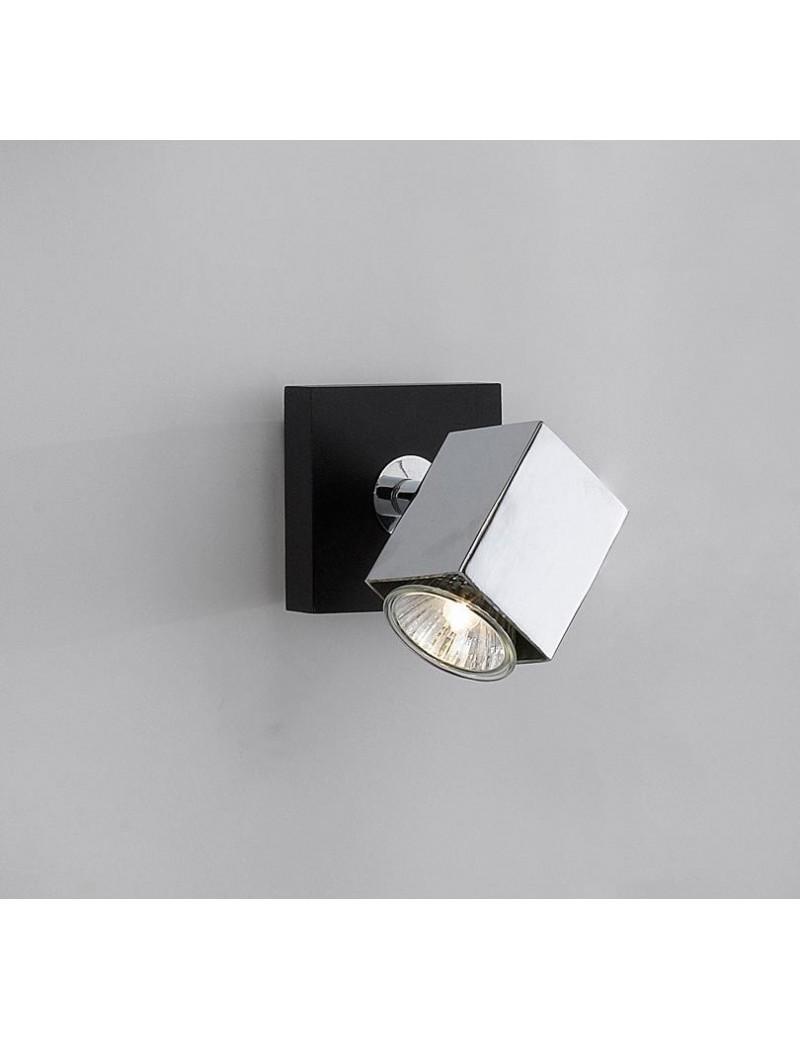 TOP LIGHT: Cube applique parete faretto metallo particolari legno wenge 1 luce in offerta