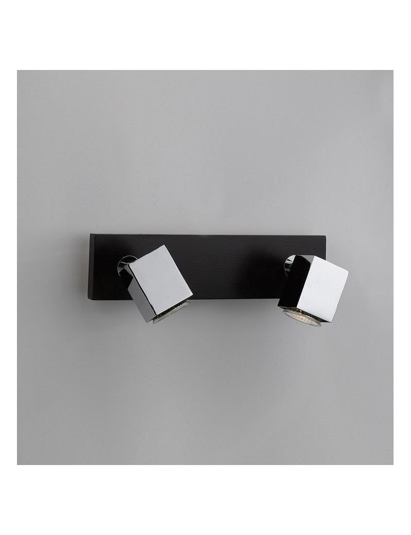 TOP LIGHT: Cube applique parete faretto metallo particolari legno wenge 2 luci in offerta