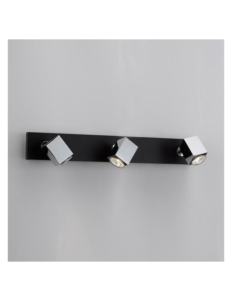 TOP LIGHT: Cube applique parete faretto metallo particolari legno wenge 3 luci in offerta