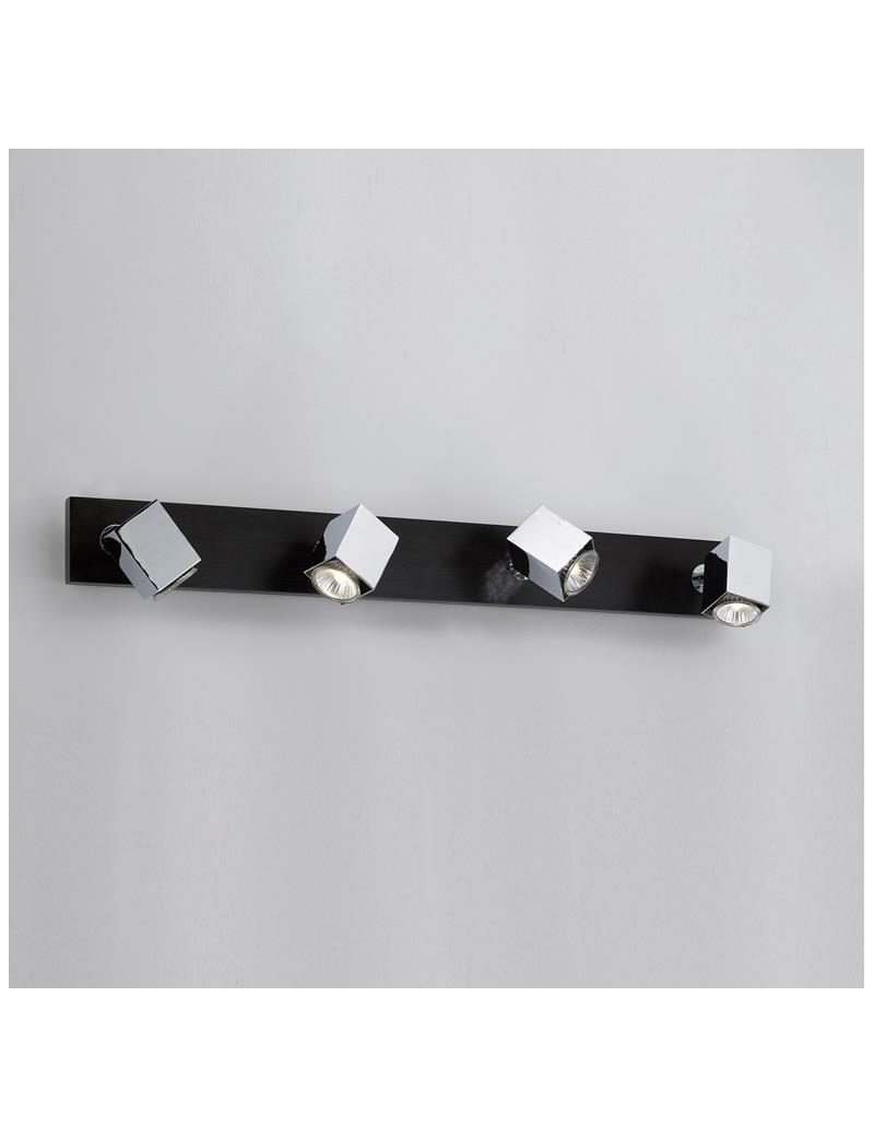 TOP LIGHT: Cube applique parete faretto metallo 4 luci particolari legno wenge in offerta