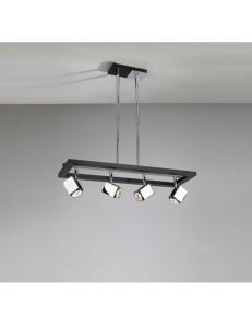 TOP LIGHT: Cube lampada sospensione metallo particolari legno wenge 4 luci in offerta