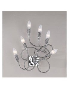 APPLIQUE LAMPADA PARETE WINDING CROMO CON 6 ELEMENTI MODELLABILI TOP LIGHT