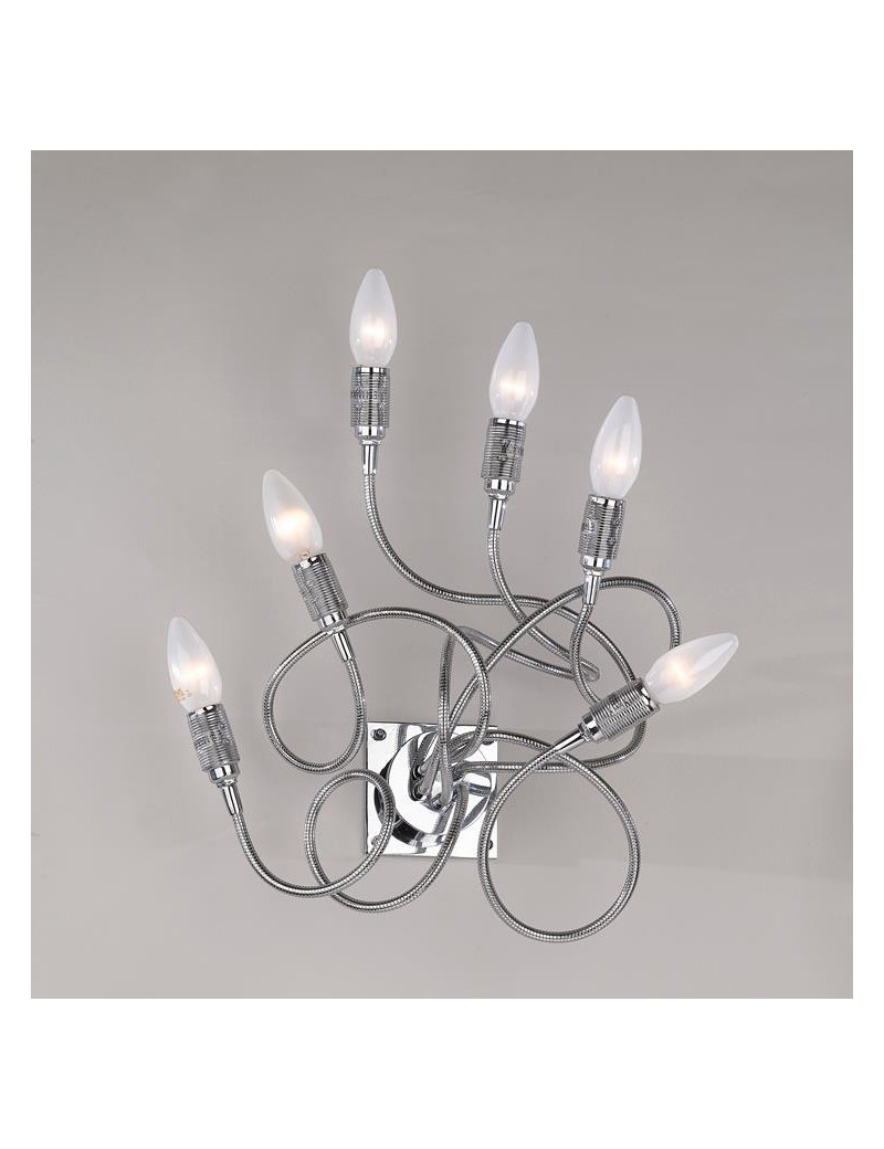 TOP LIGHT: Winding applique lampada parete cromo con 6 elementi modellabili in offerta