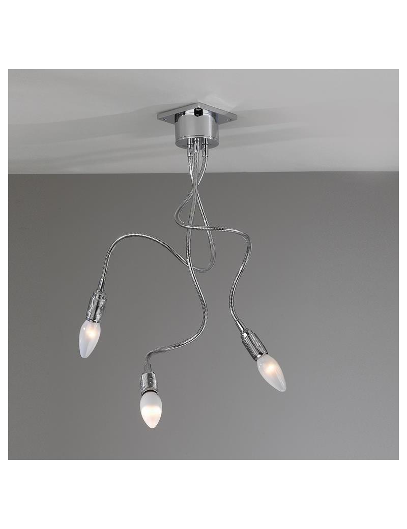 TOP LIGHT: Winding plafoniera lampada cromo 3 luci flessibili modellabili in offerta