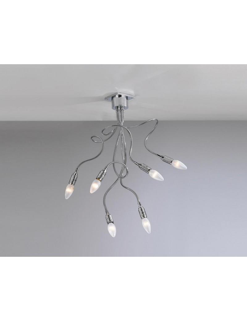 TOP LIGHT: Winding plafoniera lampada cromo 6 luci flessibili modellabili in offerta