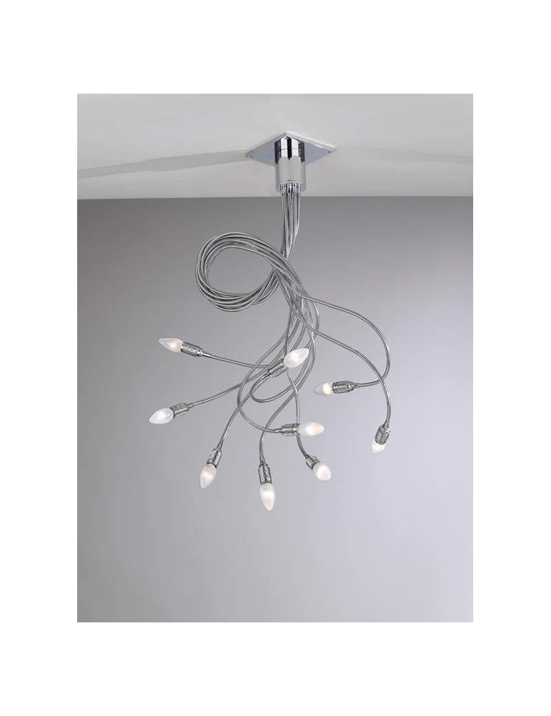 TOP LIGHT: Winding plafoniera lampada cromo 9 luci flessibili modellabili in offerta