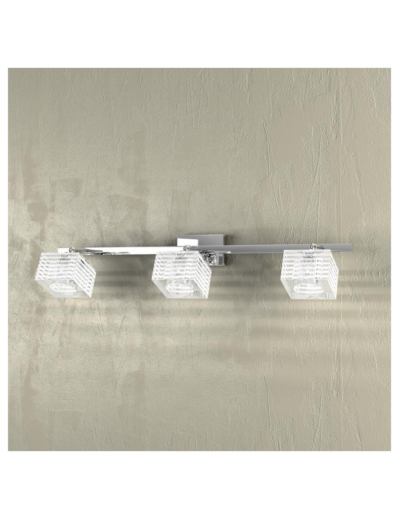 TOP LIGHT: Metropolitan applique lampada parete cubo cristallo righe satinate 3 luci in offerta