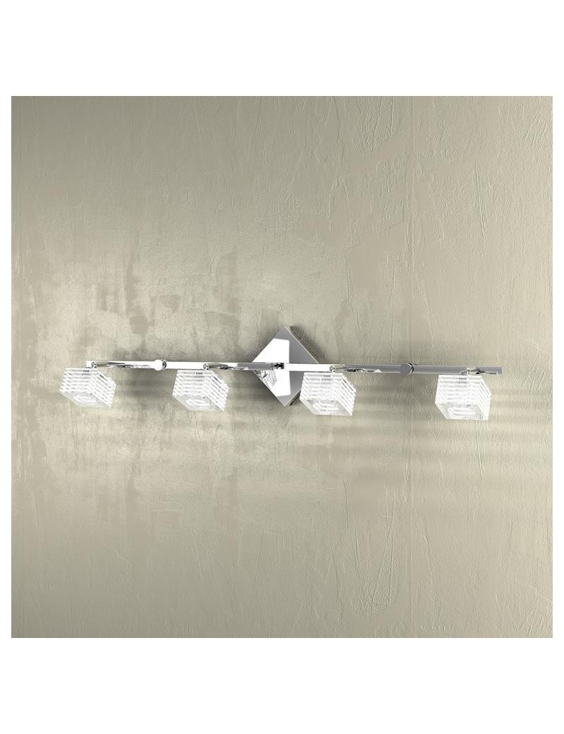 TOP LIGHT: Metropolitan applique lampada parete cubo cristallo righe satinate 4 luci in offerta