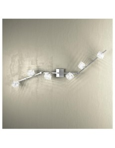 APPLIQUE LAMPADA SOFFITTO METROPOLITAN CUBO CRISTALLO RIGHE SATINATE 6 LUCI