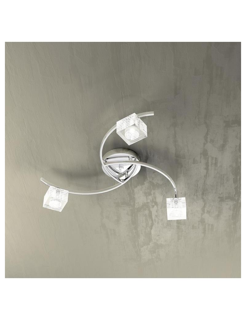 TOP LIGHT: Metropolitan plafoniera con 3 luci effetto elica corpo luce cubo decorato in offerta