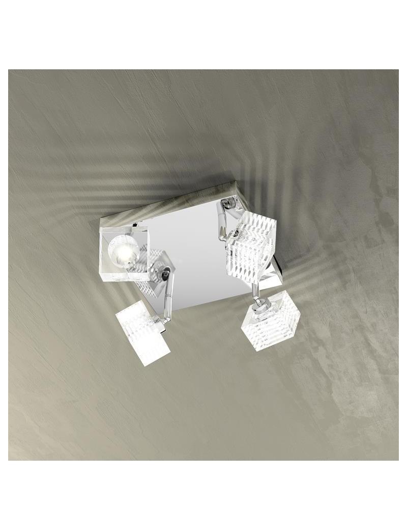 TOP LIGHT: Metropolitan plafoniera moderna cubo cristallo decorato 4 luci in offerta