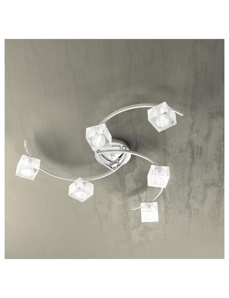 TOP LIGHT: Metropolitan plafoniera con 6 luci effetto elica corpo luce cubo decorato in offerta