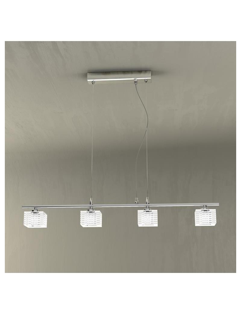 TOP LIGHT: Metropolitan lampada a sospensione regolabile con 4 cubi decorati satinati a righe in