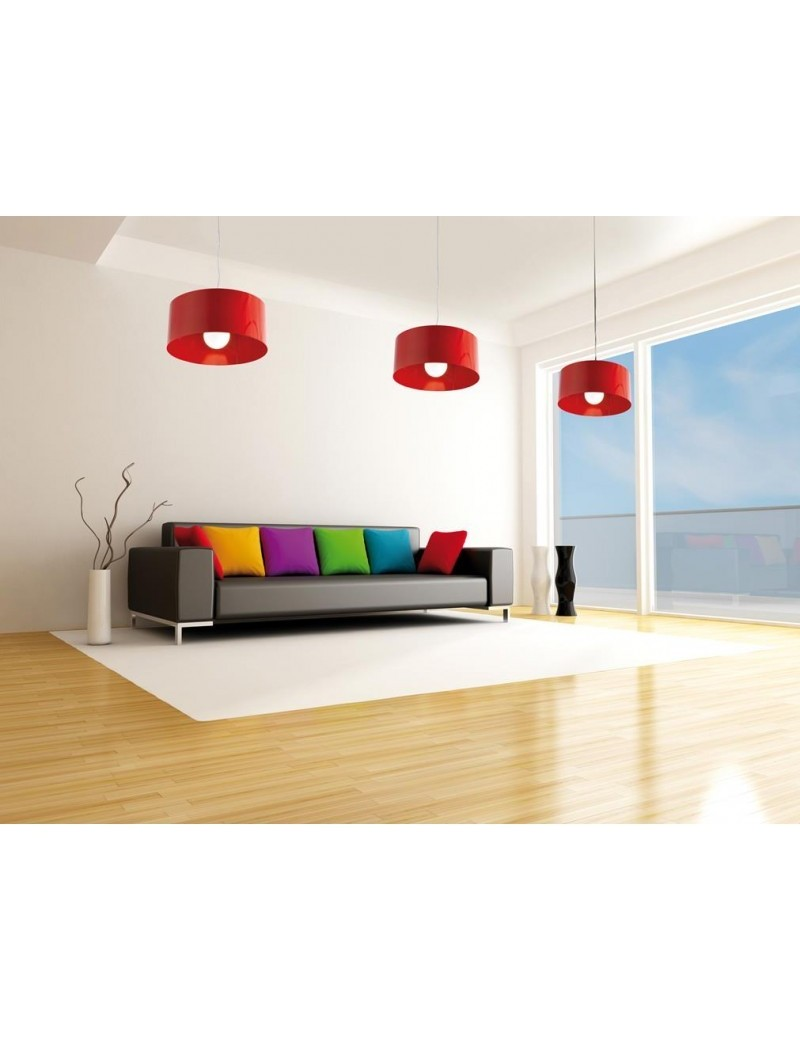 TOP LIGHT: Cylinder sospensione a cilindro moderno colore rosso 45cm in offerta