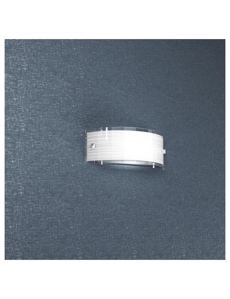 TOP LIGHT: Linear mad 30 applique parete moderna vetro curvo serigrafato satinato in offerta