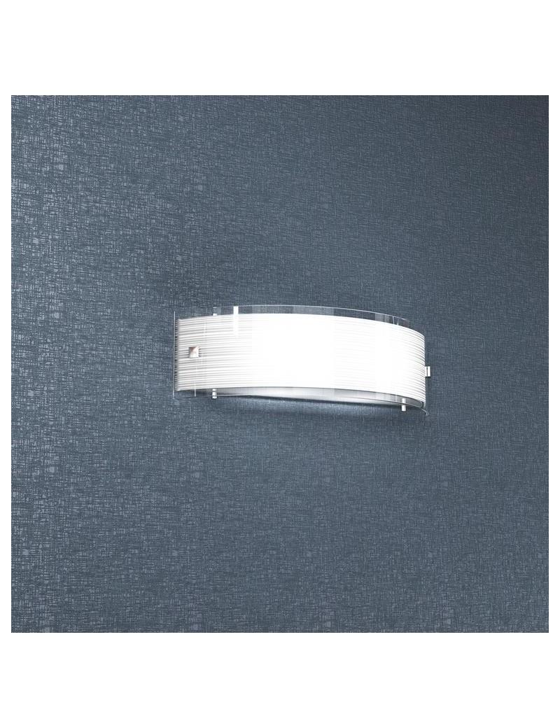 TOP LIGHT: Linear mad 40 applique parete moderna vetro curvo serigrafato satinato in offerta