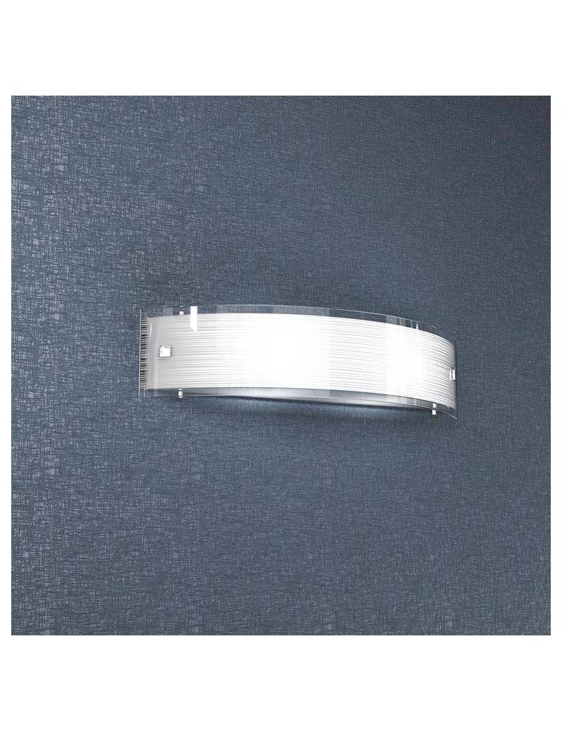 TOP LIGHT: Linear mad applique parete vetro curvo serigrafato satinato 50cm in offerta