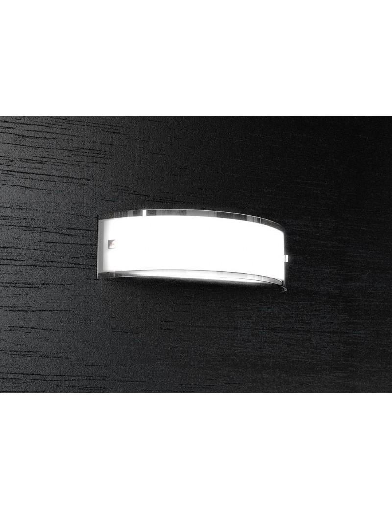 TOP LIGHT: Linear applique parete vetro curvo serigrafato bianco bordi laterali 40cm in offerta