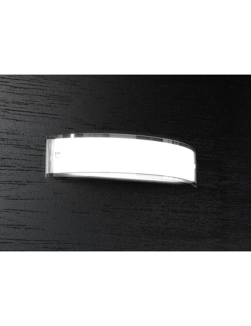 TOP LIGHT: Linear applique parete vetro curvo serigrafato bianco bordi laterali 50cm in offerta